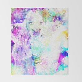 Girl bouquet Throw Blanket