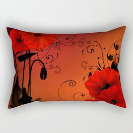 Poppy flowers, sunset Rectangular Pillow