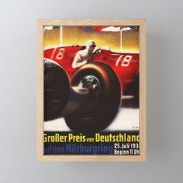 1937 Grand Prix Motor Racing Nurburgring Germany Vintage Advertising Poster Framed Mini Art Print