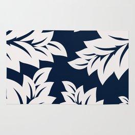 Navy Blue tropical leaves Rug