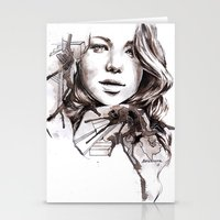 jennifer lawrence Stationery Cards featuring Jennifer Lawrence by dariemkova