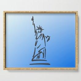Lady Liberty Blue Serving Tray