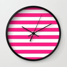 Pink & White Stripes Wall Clock