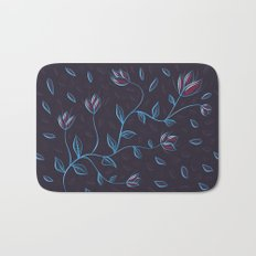 Abstract Glowing Blue Flowers Bath Mat