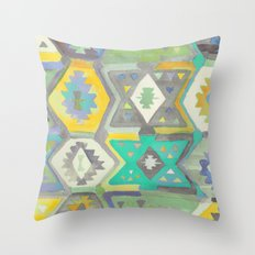 Kilim Me Softly in Turquoise Throw Pillow