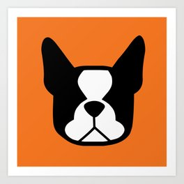 Boston Terrier - bold and moden in orange Art Print