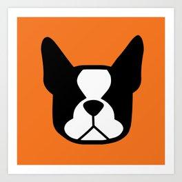Boston Terrier - bold and modern in orange Art Print