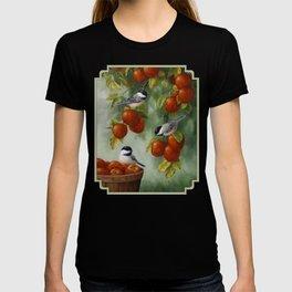 Chickadees and Apple Tree Harvest T-shirt