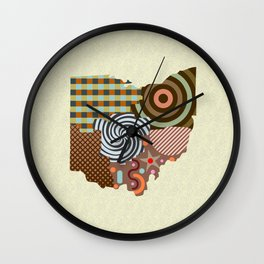 Ohio State Map Wall Clock