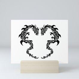 Two Tribal Dragons Mini Art Print