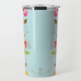 Climbing Floral Vine on Light Cyan Travel Mug