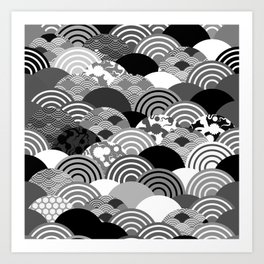 Nature background with japanese sakura flower, Cherry, wave circle Black gray white colors Art Print