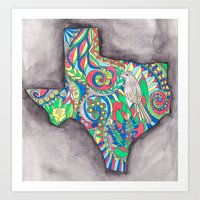 texas Art Prints featuring Texas by Laura Maxwell