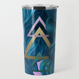 tropical turquoise leaves pattern Travel Mug