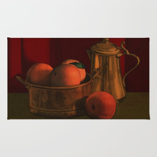 Still life with peaches Rug