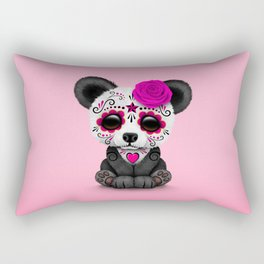 Pink Day of the Dead Sugar Skull Panda Rectangular Pillow