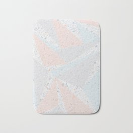 Soft terrazzo pastel with abstract geometric triangles Bath Mat