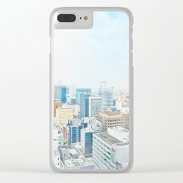 modern city skyline aerial view under sunrise and blue sky in Nagoya, Japan Clear iPhone Case