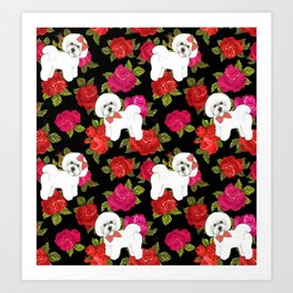 Bichon Frise dogs red rose floral for dog lovers Art Print