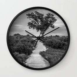 Windswept Tree at Fort Fisher NC -- Black and White Coastal Landscape Wall Clock