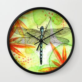 Dragonfly Lilly Art (Watercolor & Ink) Wall Clock