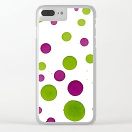 Merry Dots For Christmas With Random Green and Magenta Ink Polka Dots Clear iPhone Case