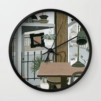 cafe Wall Clocks featuring View from the Cafe by Yuliya