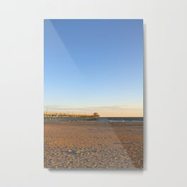 Golden Hour at the Fishing Pier Metal Print