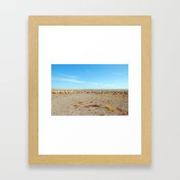 Inner Mongolia.  A flock of sheep with blue cloudy sky Framed Art Print