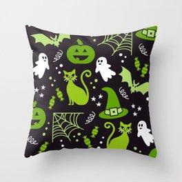 Halloween party illustrations green, black Throw Pillow