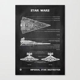 Star Destroyer Chalkboard Canvas Print