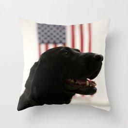 All-American Black Labrador Throw Pillow