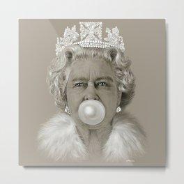 Queen Elizabeth II Blowing White Bubble Gum Metal Print