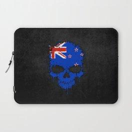 Flag of New Zealand on a Chaotic Splatter Skull Laptop Sleeve