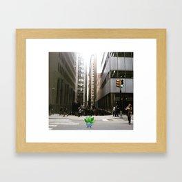 Oddish lost in wall st nyc Framed Art Print