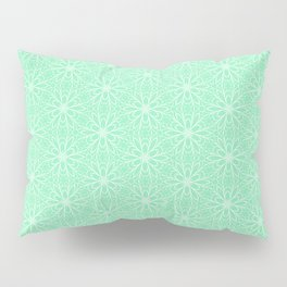 Mint Daisy Graphic  Design Pattern Pillow Sham