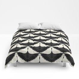 CRANE DESIGN - pattern - Black and White Comforters