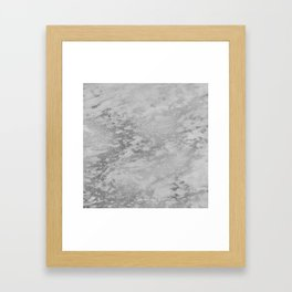 Dark Grey Marble Silver Glitter Gray Framed Art Print