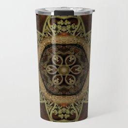 Ornamental Metal Flower On Wood Travel Mug