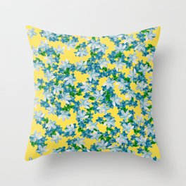 Summer Flowers Yellow Throw Pillow