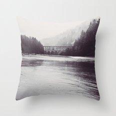 Ocean Sea Water Beach meets Foggy Forest - Heceta Head Cape Creek Bridge Oregon Black and White Throw Pillow