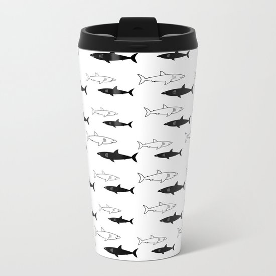 B/W Shark Metal Travel Mug
