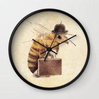 bee Wall Clocks featuring Worker Bee by Eric Fan
