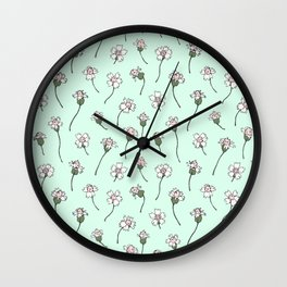 Dainty Wildflowers - Mint & Blush Wall Clock