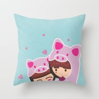 suits Throw Pillows featuring Piggy-Suits by I love Bubbah