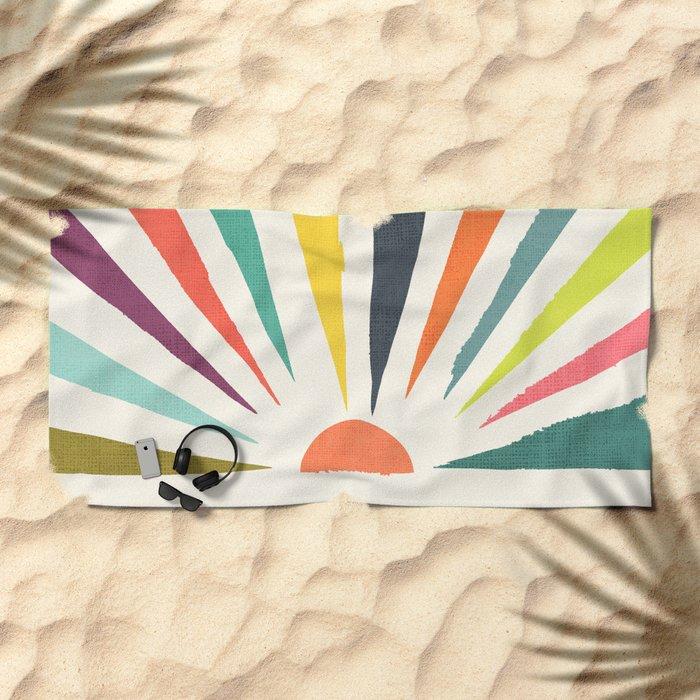 Rainbow ray Beach Towel