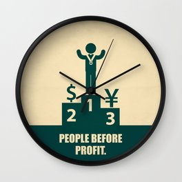 Lab No.4 -People Before Profit Quotes poster Wall Clock