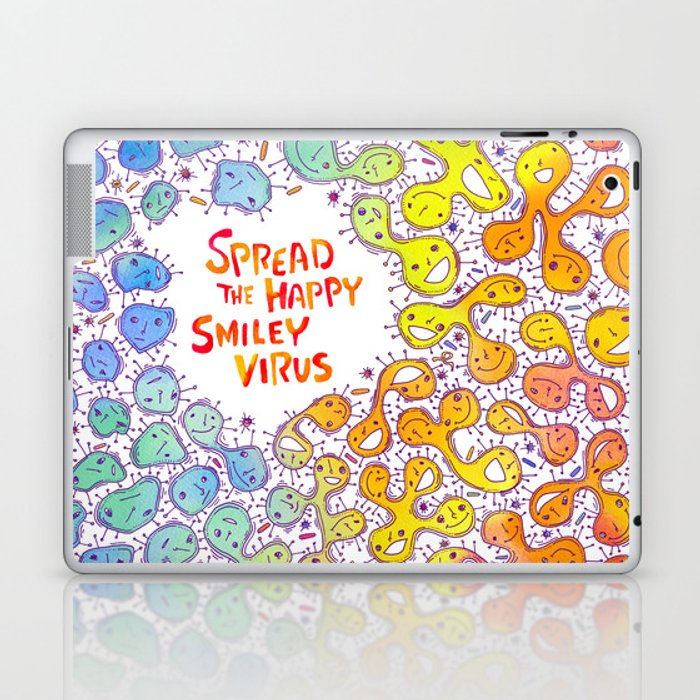 Happy Virus Laptop & iPad Skin by chikaandoillustration