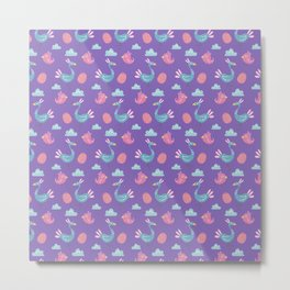 Modern green pink violet hand drawn birds pattern Metal Print