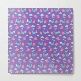Modern green pink violet hand drawn birds pattern Metal Print